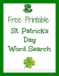 Free printable word search for St. Patrick's Day http://www.moneysavvymichelle.com/st-patricks-day-word-search/ #StPatricksDay #printable