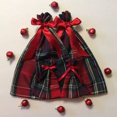 Fabric Gift Bags  Plaid Organza Fabric  Christmas by GiftGarbBags