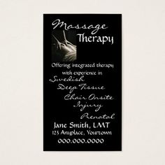 massage therapy sleek black appointment card - Massage Therapy Business Cards