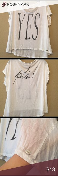Guess graphic loose tee Front and back graphic. Hi lo design. Very thin, almost sheer. Worn once. Guess Tops