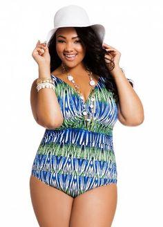3bd45b2e140d7 Ashley Stewart Women's Plus Size Plumes Gone Wild Empire Shirred Tank swimsuit  Plus Swimwear, Swimwear