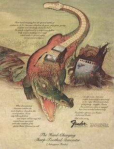 "Fender advertisement (1977) ""The Hard-Charging Sharp-Toothed Starcaster."""