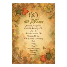 anniversary party invitation fall leaves Wedding anniversary party formal invitation with gold numbers 60 with gold hearts and Autumn leaves in Fall colors 60th Anniversary Parties, 60 Wedding Anniversary, Wedding Anniversary Invitations, Fall Wedding Invitations, Anniversary Dates, Zazzle Invitations, Invitation Background, Post Wedding, Autumn Leaves