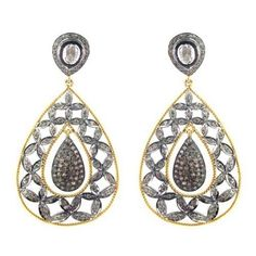 Rose Cut Diamond Pave 14K Gold Vintage Look 925 Sterling Silver Earrings Jewelry #Handmade
