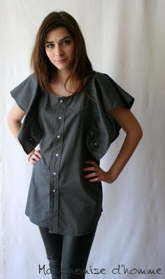 50%off use code MCH50  Wear butterfly shirt  - Upcycled man's shirt dark gray  - Maela - US 6 / EU 38
