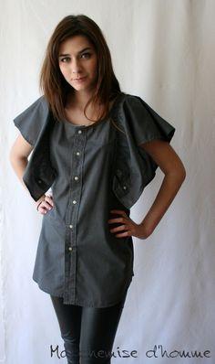 Wear butterfly shirt - Upcycled man's shirt dark gray - Maela - US 6 / EU 38. €75,00, via Etsy.