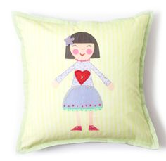 Pretty yellow and violet colors make this a cute addition to any little girl's room       100 cotton canvas with lots of embroidery detailing and there's a tiny heart shaped pocket for when it's time for the tooth fairy to come       So cute green gingham trim Be sure to see the matching wall art and other pillows in this collection       Machine washable. Hypoallergenic polyester insert.       16 x 16       Perfect gift price....buy more than one and save wi
