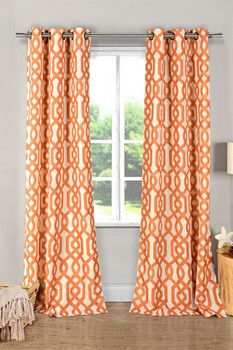 Ashmont Printed Textured Grommet Panel Curtains - Set of 2 - Orange