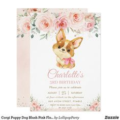 Corgi Puppy Dog Blush Pink Floral Girl Birthday Invitation