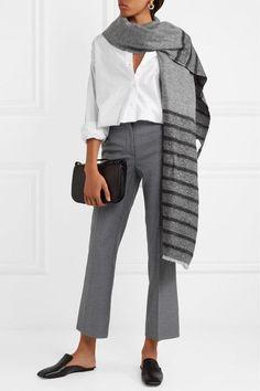 Tonal gray and black cashmere, alpaca, polyamide, mohair and polyester-blend 33% cashmere, 30% alpaca, 18% polyamide, 14% mohair, 5% polyester Dry clean Made in Italy