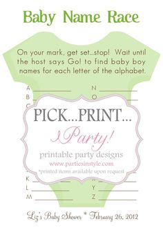 This should be a game played at the next baby shower for someone in the crew. :) Baby Shower Game - Baby Name Race- turn it into scategories! Baby Shower Fun, Baby Shower Gender Reveal, Baby Boy Shower, Baby On The Way, Baby Love, Babyshower, Everything Baby, Baby Games, Reveal Parties