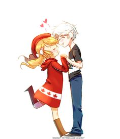 Prussia/Fem!Canada, Hetalia, Nyotalia I dont really like PruCan, but this is cute