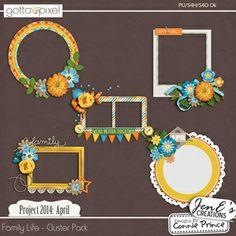 Project 2014 April:  Family Life - Digital Scrapbook Cluster Pack. $2.99 at Gotta Pixel. www.gottapixel.net/