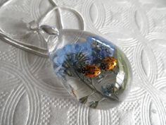 Real LadybugsSky Blue Forget-Me-Nots Glass by giftforallseasons