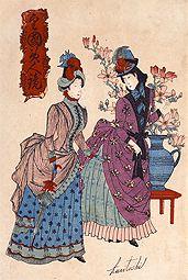 (左)バッスルスタイルを着た上流階級の女性たち / 皇國美人競