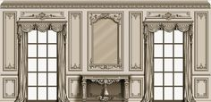 agrellcarving.com wp-content uploads 2016 07 AAC-Room-French-Louis-XIV-South-elevation-with-two-draped-windows-table-carved-panels-and-mirror-designed-by-Agrell-woodcarving.jpg