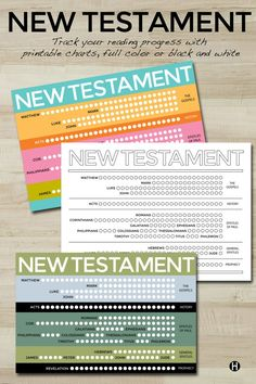 New Testament Scripture Tracking Charts