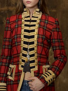 Denim & Supply Ralph Lauren Tartan Officers Coat in Red (front view) Tartan Fashion, Look Fashion, Woman Fashion, Off Your Rocker, Tweed, Celtic Clothing, Plaid Outfits, Denim And Supply, Tartan Plaid