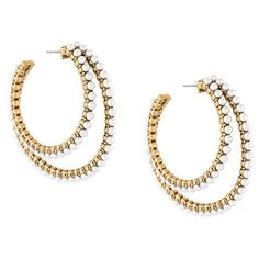 Marc Jacobs double pearl hoop earrings (12,275 INR) ❤ liked on Polyvore featuring jewelry, earrings, metallic, earring jewelry, pearl earrings jewellery, pearl hoop earrings, gold colored earrings and pearl earrings