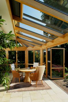 Wintergarten aus Holz Conservatory natural: Light wood, such as beech, as a renewable raw material i Patio Gazebo, Backyard Patio Designs, Back Patio, Outdoor Rooms, Outdoor Living, Small Indoor Pool, Garden Room Extensions, Backyard Paradise, Earthship