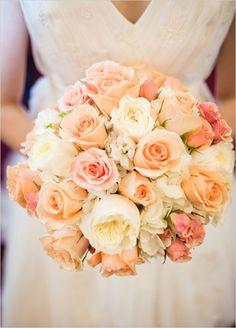 peach bouquets for brides | peach roses pink bridal bouquet wedding flowers