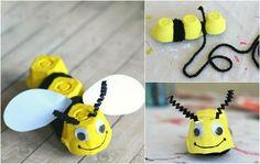 Biene aus Eierkarton basteln mit den Kindern