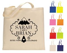 New to SipHipHooray on Etsy: Mountain Wedding Tote Bag Personalized Tote Bags Wedding Tote Bags Wedding Welcome Bags Wedding Favor Monogrammed Bags Cotton Tote (198.00 USD)