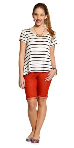 M2A Jeans | Spring Summer 2014 | Teen Girl Lookbook | Pimavera Verão 2014 ♥ bermuda color block vermelha; red; listras; stripes.