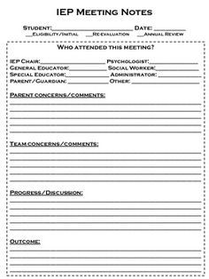 Iep Meeting Note Form My Job Description Says Teacher