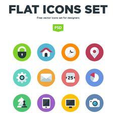 Flat Icons Set - http://grapehic.com/flat-icons-set/photoshop/psd