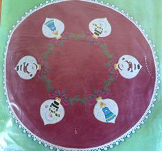 "Vtg Bucilla Christmas Tree Skirt Kit Red 45"" Holiday Ornaments #2815 New Sealed #Bucilla"