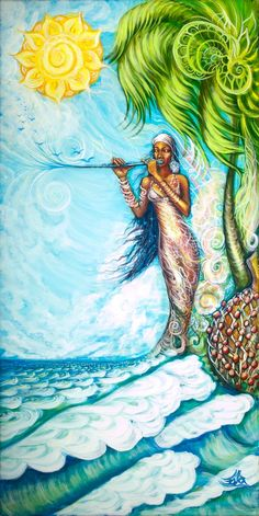 When we connect with & BE the Divine beauty of our Inner Paradise, we merge Heaven & Earth... ♥♥ Beautiful Artwork ~ A Flute by the Sea by Eva Ruiz