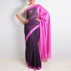 Purple Checks Saree