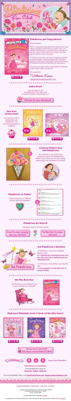 May, 2013 Pinkalicious Newsletter. Sign up here: www.thinkpinkalicious.com/victoria