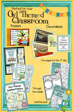 Everything that you need for your owl themed classroom in one place! Owl themed classroom decorations, posters, fun pages, graphic organizers, and more! $
