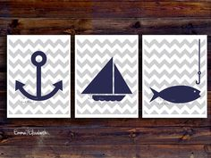 Children art print Nautical nursery Baby boys room decor Navy blue and Gray Modern Chevron print Boat anchor art Sailboat. via Etsy.