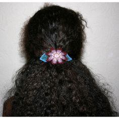 Huichol Flower Hair Brooch Beaded Hair Clip Purple Flower Brooch Hair... ($25) ❤ liked on Polyvore featuring accessories, hair accessories, barrettes & clips, dark olive, floral hair clips, hair clip accessories, flower hair accessories, barrette hair clips and purple hair clip