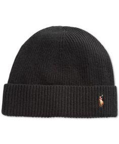 1a665fb3 Polo Ralph Lauren Signature Merino Cuffed Beanie | macys.com Beanie Hats,  Grey Beanie