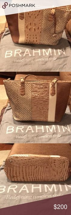 """Brahmin Medium Asher Latte Sierra Tote This beautiful like-new Brahmin tote was minimally used. These neutral cream, tan, bronze, and champagne colors look good with so many outfits. The purse has the following dimensions and features: 10.5"""" handle drop with double adjustable handles. Product dimensions are 15.5"""" W x 10"""" H x 5"""" D and are measured at the widest and tallest point. There is one large zippered interior pocket, one small interior jewelry pocket, 2 organizer pockets, 2 pen loops…"""