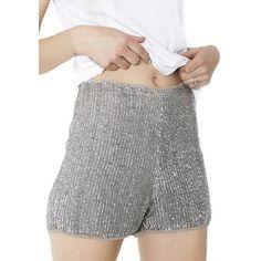Glamorous Astonish 'Em Sequined Shorts ($85) ❤ liked on Polyvore featuring shorts, micro shorts, high-waisted shorts, high-rise shorts, silver sequin shorts and mini shorts