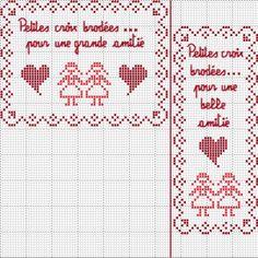 brodeuse - embroiderer - amitié - point de croix - cross stitch - Blog : http://broderiemimie44.canalblog.com/