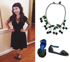 Aubrey wore her favorite 1940s Dress in Black Rayon with her Bakelite Lady Cherries Necklace and Jeffrey Campbell Flats to her friends wedding!