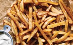 No-Fry Fries    Gwyneth Paltrow's No-Fry Fries, just cut up your potatoes and place them in a bowl of cold water, then dry them off and toss them with olive oil, place them on a cookie sheet and sprinkle with sea salt, then bake at 450 for about 25 minutes, turning occasionally.