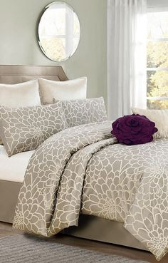 Silver & Beige Emma Flower Comforter Set Really like the grey with gold undertones and plum set up. Comfy and cozy or bright and lively? Dream Bedroom, Home Bedroom, Bedroom Decor, Master Bedroom, Bedrooms, New Interior Design, My New Room, Comforter Sets, Bedroom Designs