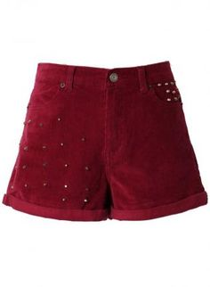 Oxblood Corduroy Shorts with Stud Embellishment,  Bottoms, studded shorts  oxblood red, Casual  #ustrendypineneedle