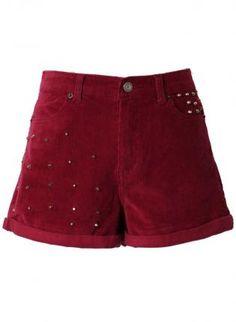 Oxblood Corduroy Shorts with Stud Embellishment,  Bottoms, studded shorts  oxblood red, Casual  #ustrendypineneedle
