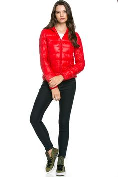 Lightweight Puffer Down Hooded Jacket Red
