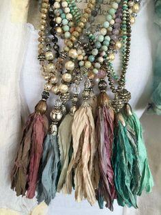 Shabby BoHo glam hand knotted czech crystal sari silk tassel bohemian unique…