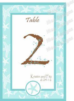 Beach Wedding Table Numbers Tiffany Blue by iDoArtsyWeddings, $29.00