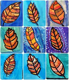 Best 11 Autumn Aboriginal leaf art…in progress! Lesson idea from 🎨arted Fall Art Projects, School Art Projects, Autumn Crafts, Autumn Art, Art Drawings For Kids, Art For Kids, Theme Halloween, 3rd Grade Art, Art Lessons Elementary